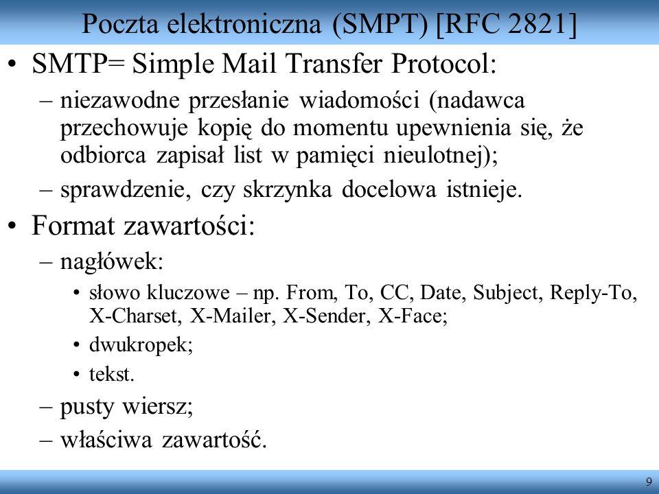 Poczta elektroniczna (SMPT) [RFC 2821]
